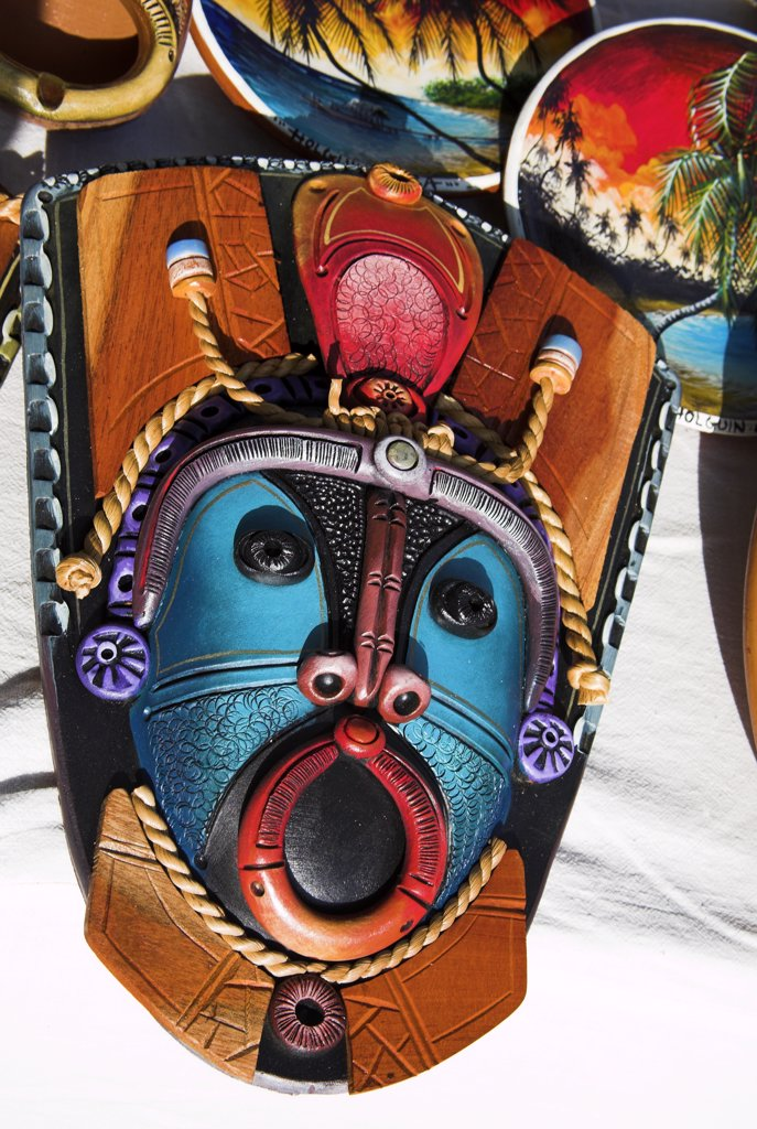 Colourful ceramic pottery mask for sale in the Craft Market, Guardalavaca, Holguin Province, Cuba : Stock Photo