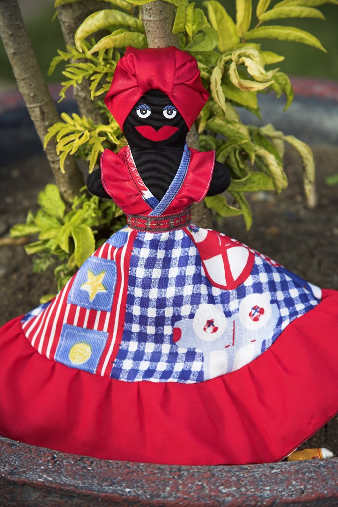 Colourful Black Doll for sale in the Craft Market, Guardalavaca, Holguin Province, Cuba : Stock Photo