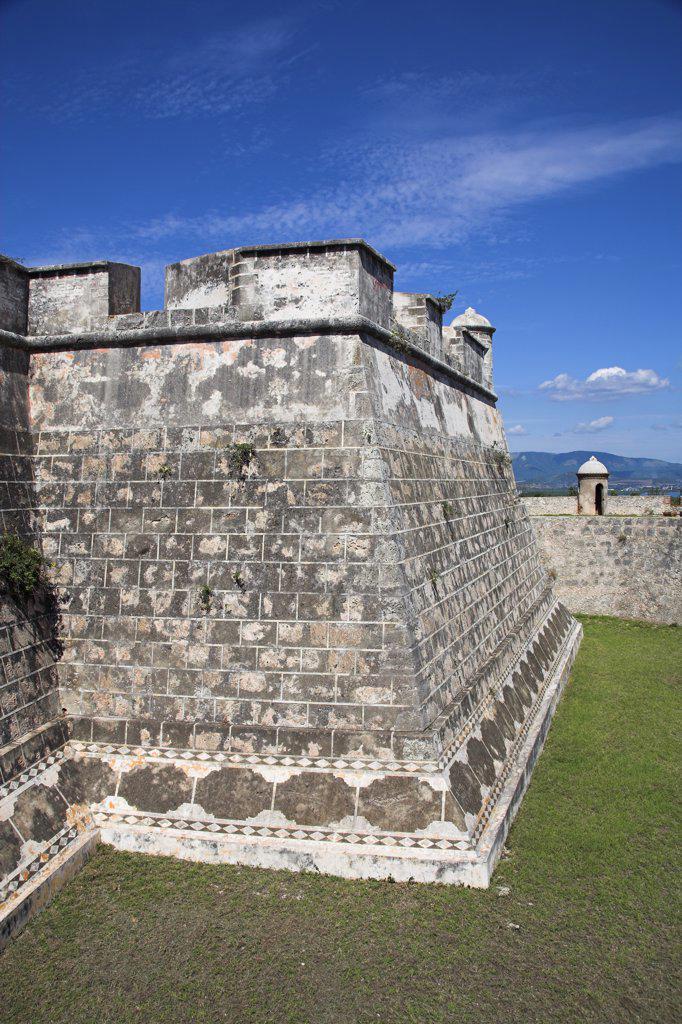 Stock Photo: 4290-2703 Walls of Castillo del Morro, San Pedro de la Roca, Morro Castle, Santiago Bay, Santiago de Cuba, Cuba