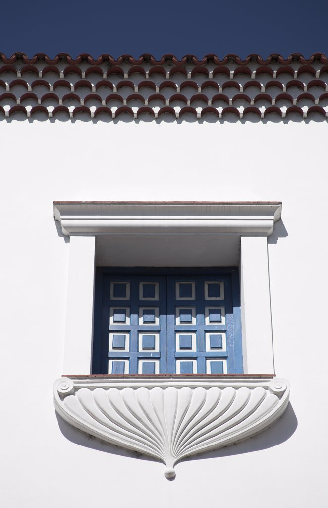 Window and balcony of the Ayuntamiento, Town Hall, Parque Cespedes, Santiago de Cuba, Cuba : Stock Photo