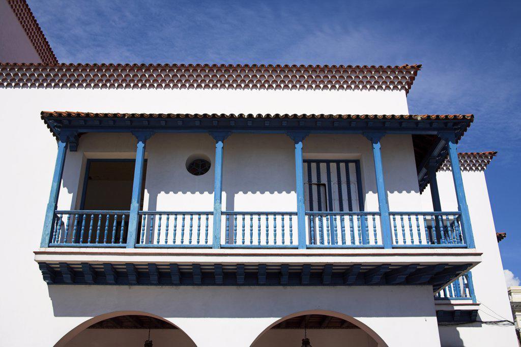Balcony of the Ayuntamiento, Town Hall, Parque Cespedes, Santiago de Cuba, Cuba : Stock Photo