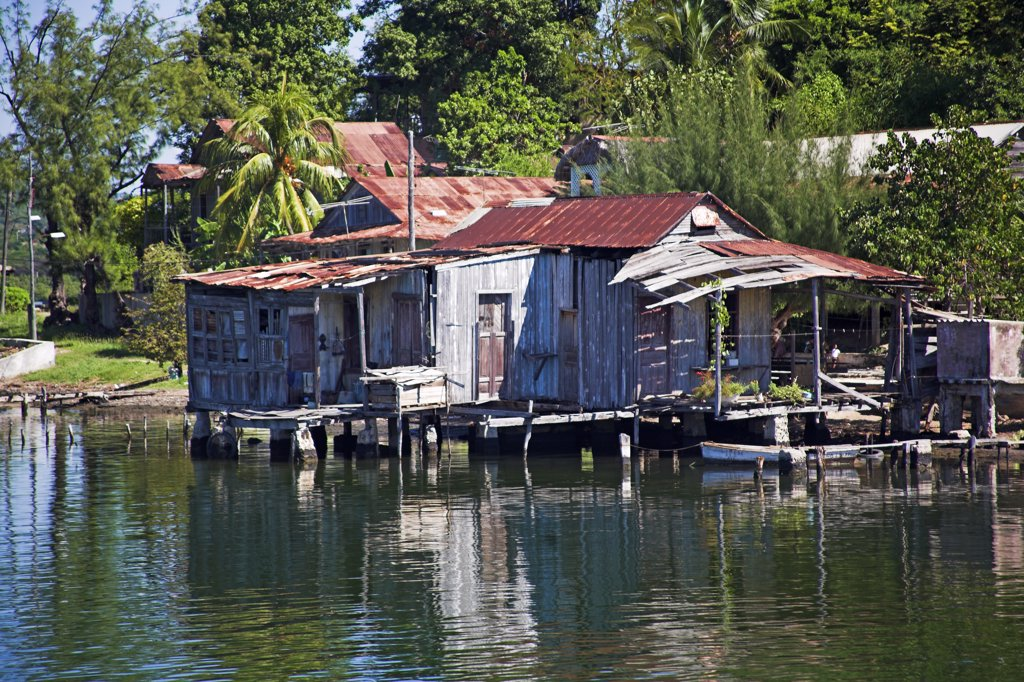 House on the shore of Cayo Granma, Santiago Bay, Santiago de Cuba, Cuba : Stock Photo