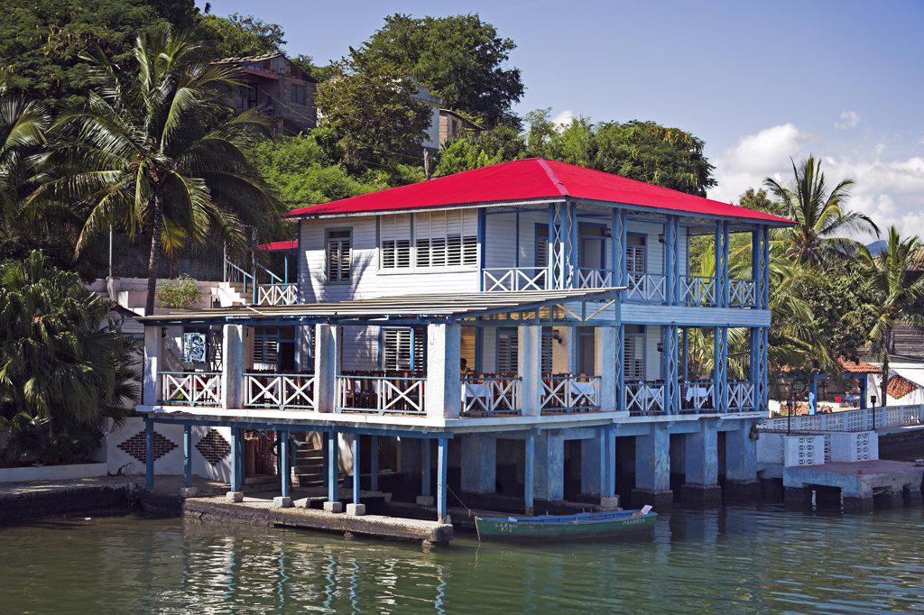 Restaurant on Quay Granma Island, Cayo Granma, Santiago Bay, Santiago de Cuba, Cuba : Stock Photo