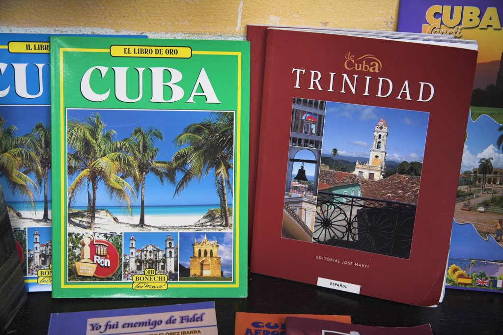 Guide books for sale, Trinidad, Sancti Spiritus Province, Cuba : Stock Photo