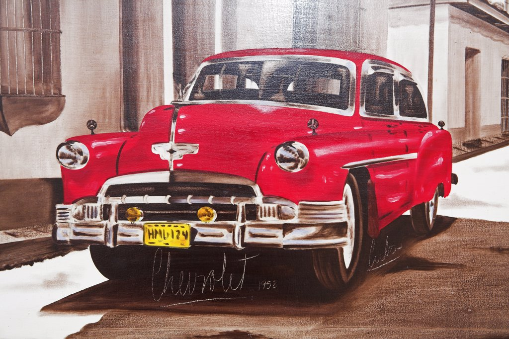 Painting of red Chevrolet car for sale in an art gallery, Trinidad, Sancti Spiritus Province, Cuba : Stock Photo