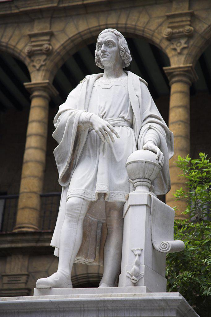 Stock Photo: 4290-2909 Christopher Columbus statue, Museo de la Ciudad, Palacio de los Capitanes Generales, Havana, La Habana Vieja, Cuba