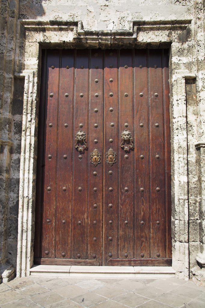 Stock Photo: 4290-2943 Doorway, Catedral de La Habana, San Cristobal Cathedral, Plaza de la Catedral, Havana, La Habana Vieja, Cuba
