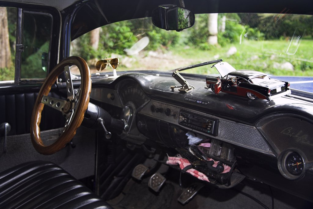 Stock Photo: 4290-2972 Interior of 1956 Chevrolet Bel Air classic vintage car, Vinales, Pinar Del Rio Province, Cuba