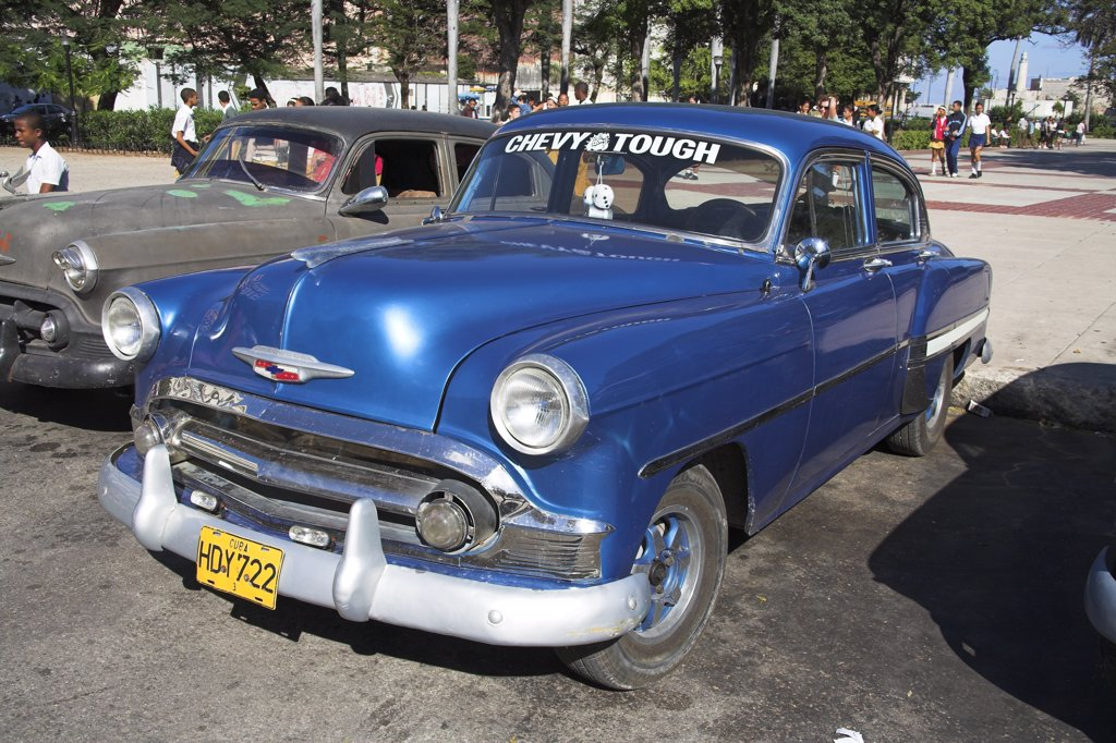 Stock Photo: 4290-3004 Classic American Chevrolet car parked at the roadside, Havana, La Habana Vieja, Cuba