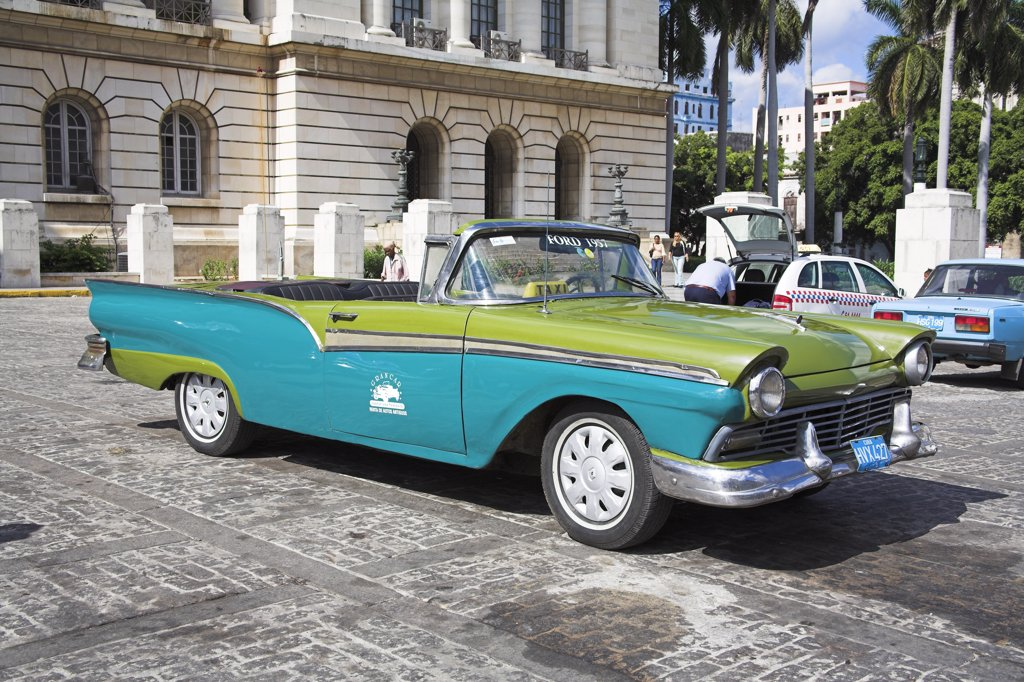 Stock Photo: 4290-3035 Classic 1957 American blue and green Ford convertible open top taxi, Havana, La Habana Vieja, Cuba