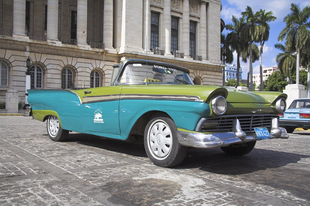 Stock Photo: 4290-3037 Classic 1957 American blue and green Ford convertible open top taxi, Havana, La Habana Vieja, Cuba