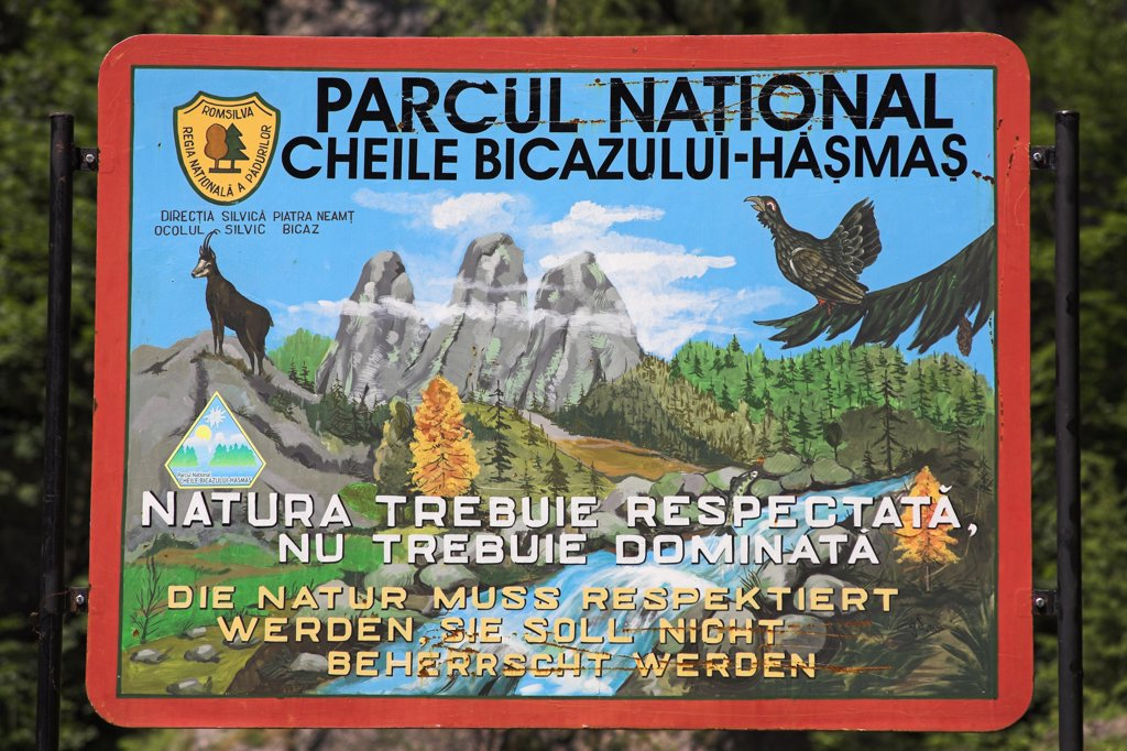 Stock Photo: 4290-3075 Bicaz Gorge sign, Cheile Bicazului Hasmas, Southern Moldavia, Romania