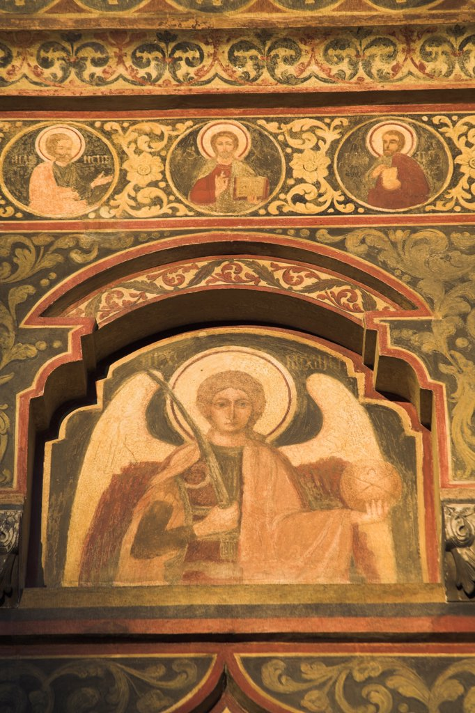 Stock Photo: 4290-3095 Painting on wall above entrance, Stavropoleos Orthodox Church, Bucharest, Romania