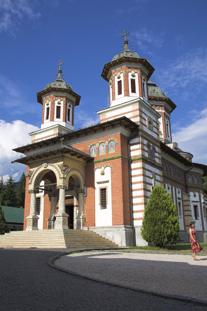 New Church, Biserica Mare, Sinaia Orthodox Holy Monastery, Sinaia, Prahova Valley, Transylvania, Romania : Stock Photo