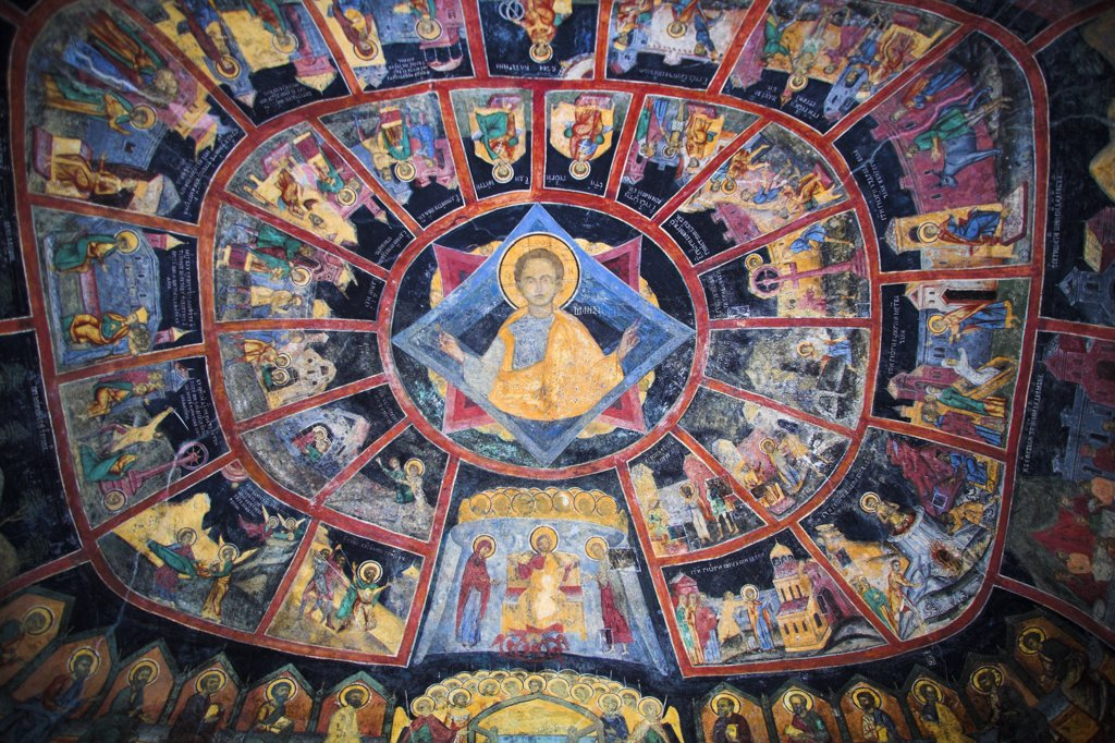 Stock Photo: 4290-3160 Paintings on ceiling of Old Church, Sinaia Orthodox Holy Monastery, Sinaia, Prahova Valley, Transylvania, Romania