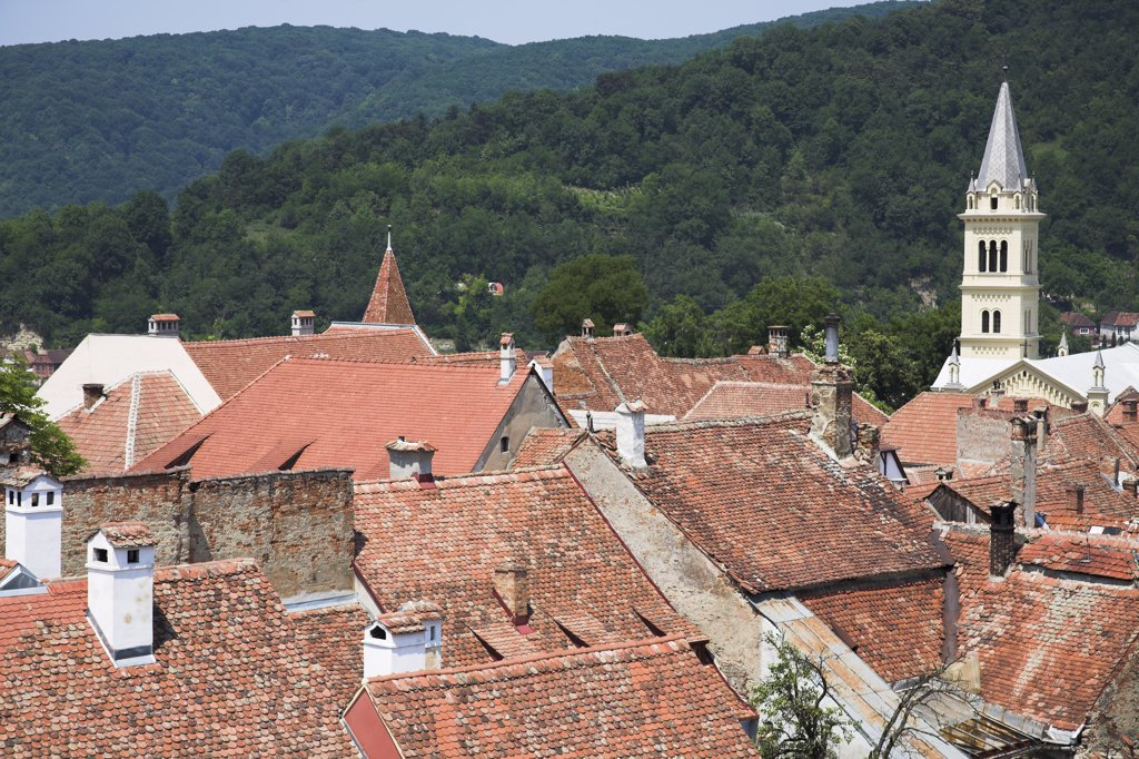 Stock Photo: 4290-3179 View of Sighisoara and Roman Catholic Church from the clock tower, Sighisoara, Transylvania, Romania