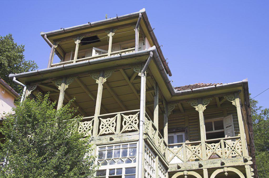 House constructed from timber, Sovata, Transylvania, Romania : Stock Photo