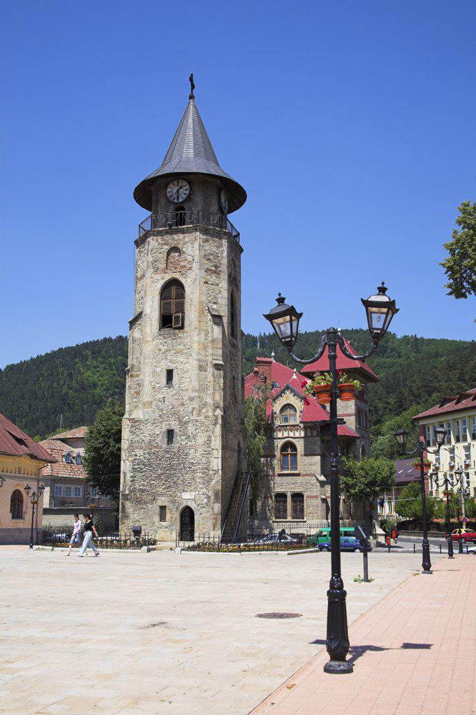 Saint John the Baptist Church clock tower, History and Archaeology Museum, Piata Libertatii, Piatra Neamt, Moldavia, Romania : Stock Photo