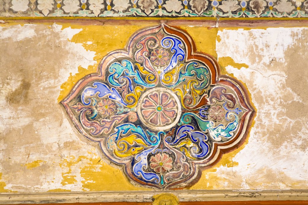 Stock Photo: 4290-3285 Colourful painting on a ceiling in Thirumalai Nayak Palace, Madurai, Tamil Nadu, India