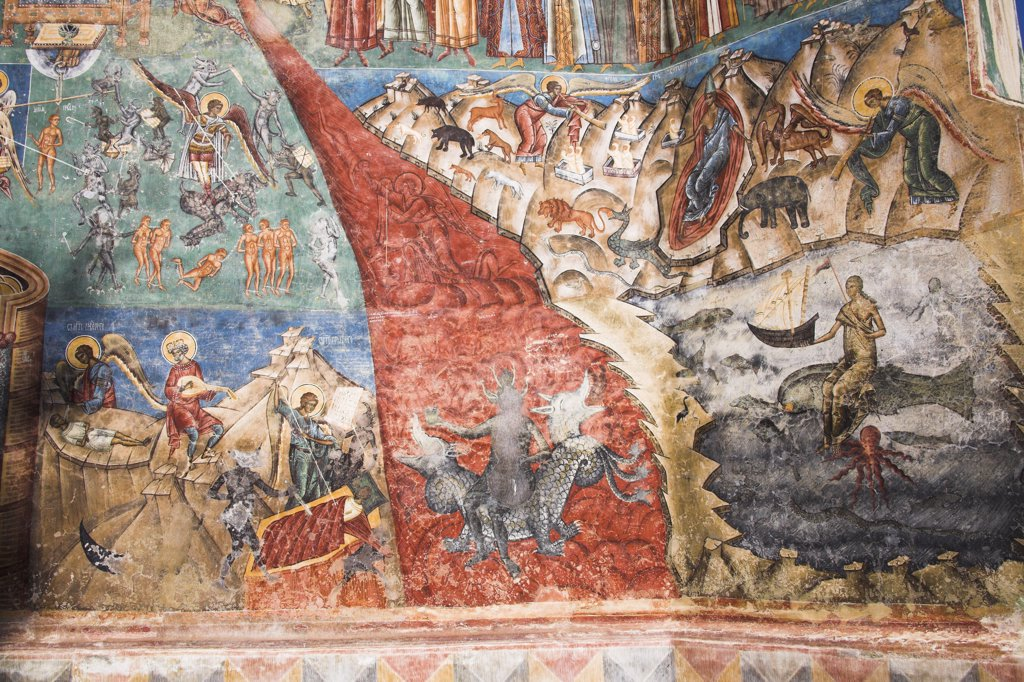 Part of Last Judgement fresco on wall, Voronet Monastery, near Gura Humorului, Bucovina, Moldavia, Romania : Stock Photo