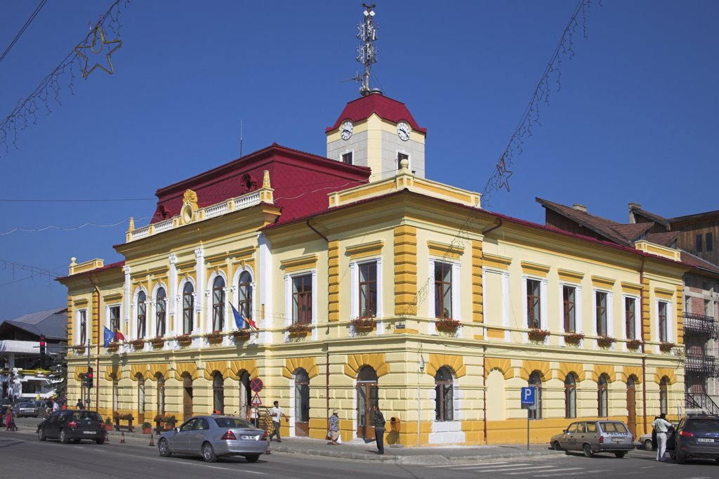 Stock Photo: 4290-3325 Town Hall, Gura Humorului, Southern Bucovina, Moldavia, Romania