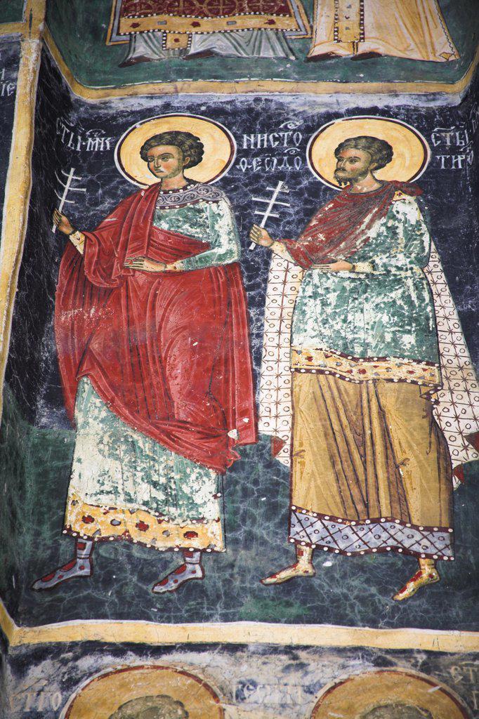 Stock Photo: 4290-3388 Fresco on outside wall, Sucevita Monastery, Sucevita, Southern Bucovina, Moldavia, Romania