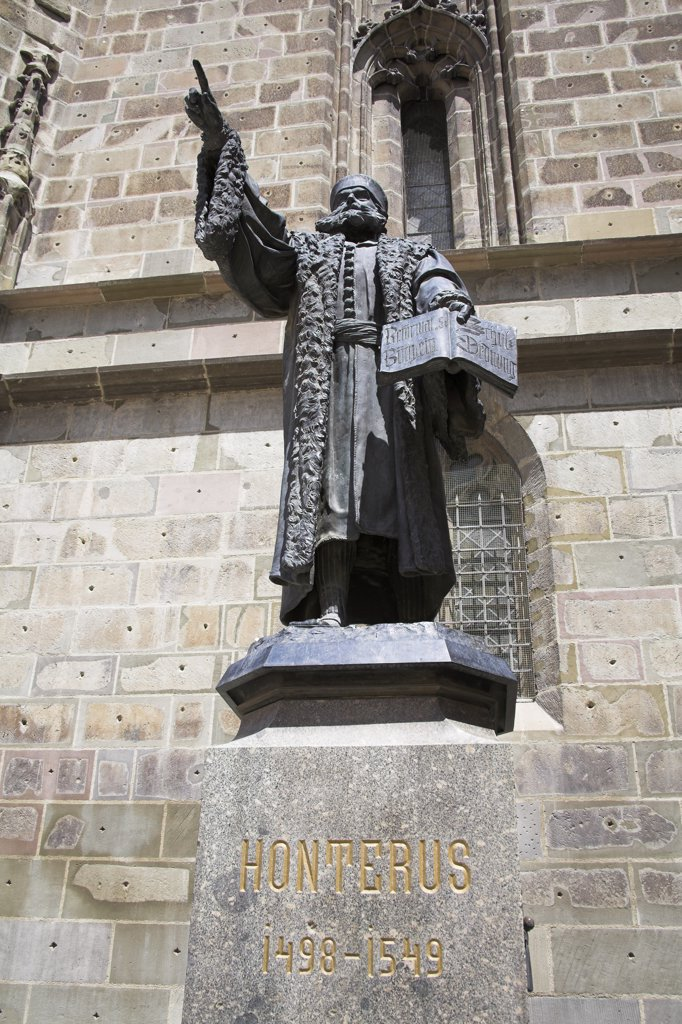Stock Photo: 4290-3439 Johannes Honterus statue, outside The Black Church, Biserica Neagra, Brasov, Transylvania, Romania
