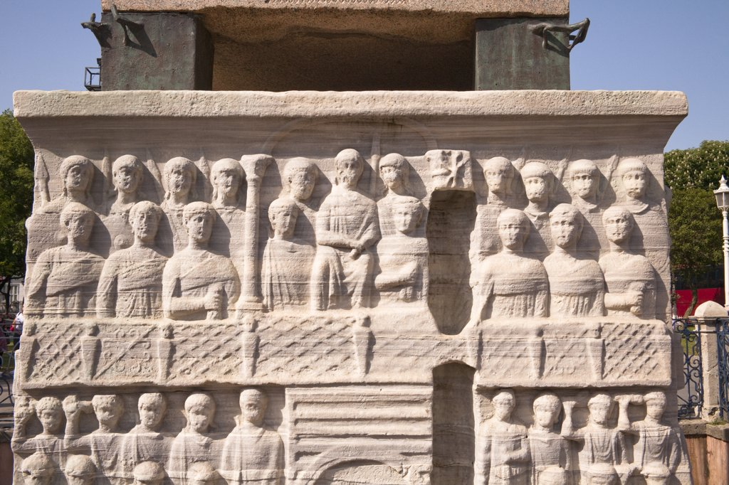 Stone carvings at the base of the Egyptian Obelisk in the Hippodrome, Istanbul, Turkey : Stock Photo