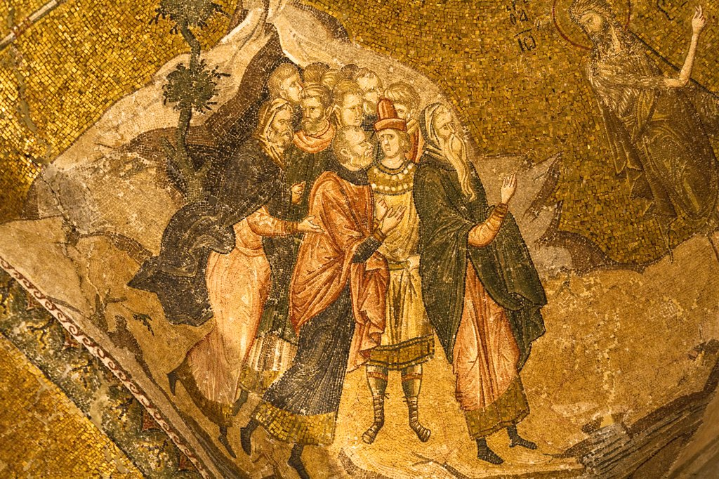 Stock Photo: 4290-3510 Part of John The Baptist Witnessing Jesus mosaic, Chora Museum, also known as Kariye Muzesi, Edirnekapi, Istanbul, Turkey