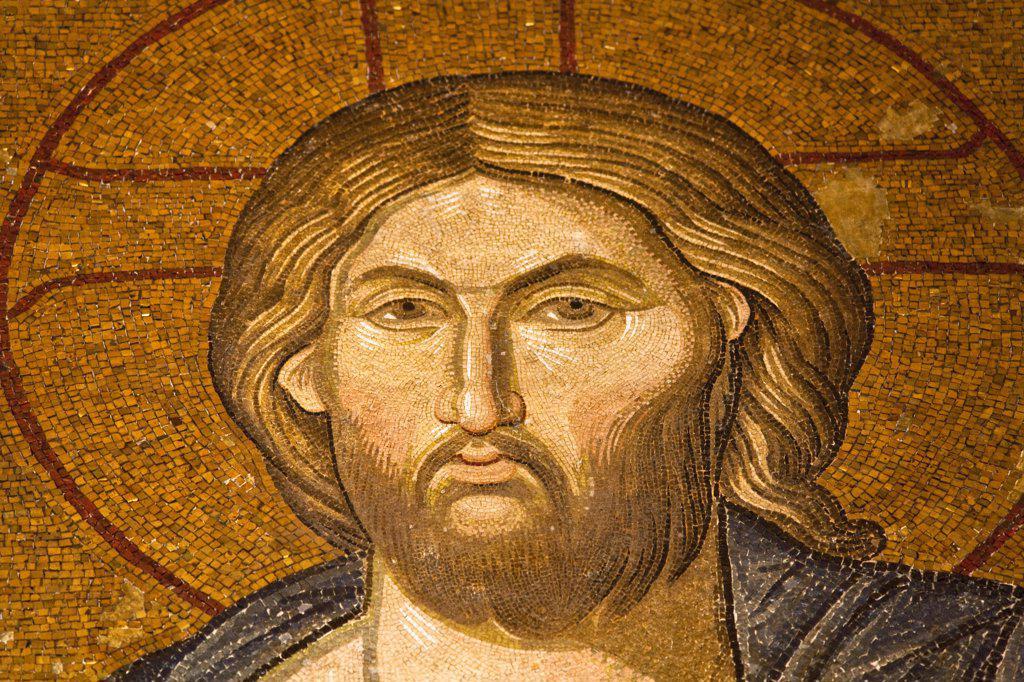 Stock Photo: 4290-3513 Pantocrator Jesus mosaic inside The Narthex, Chora Museum, also known as Kariye Muzesi, Edirnekapi, Istanbul, Turkey