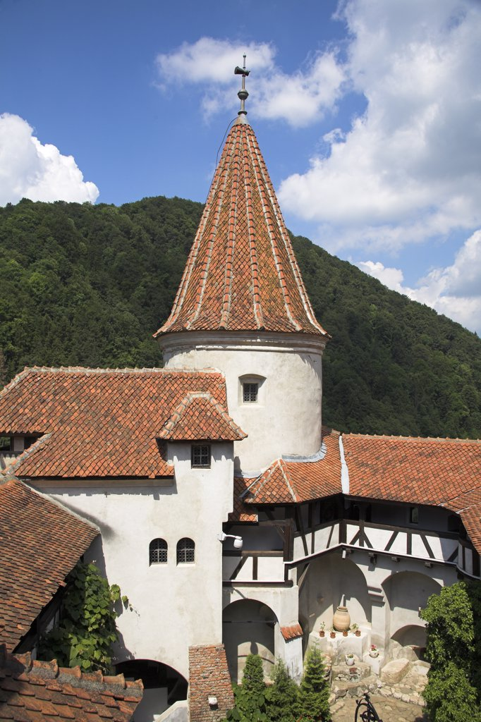 Stock Photo: 4290-3515 Turret above courtyard, Bran Castle, Bran, near Brasov, Transylvania, Romania