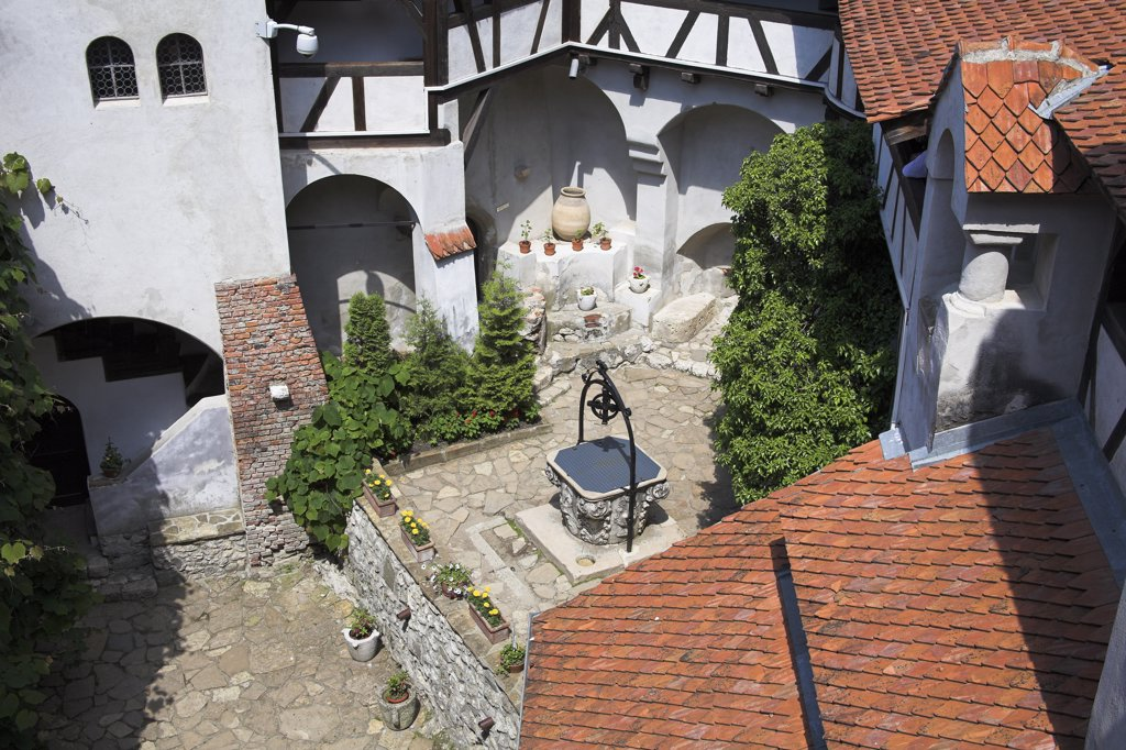 Stock Photo: 4290-3519 Overlooking the courtyard and Prince Mircea Chapel, Bran Castle, Bran, near Brasov, Transylvania, Romania