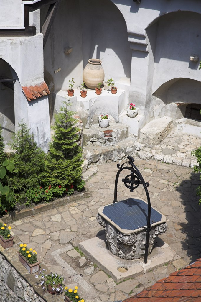 Overlooking the courtyard and Prince Mircea Chapel, Bran Castle, Bran, near Brasov, Transylvania, Romania : Stock Photo