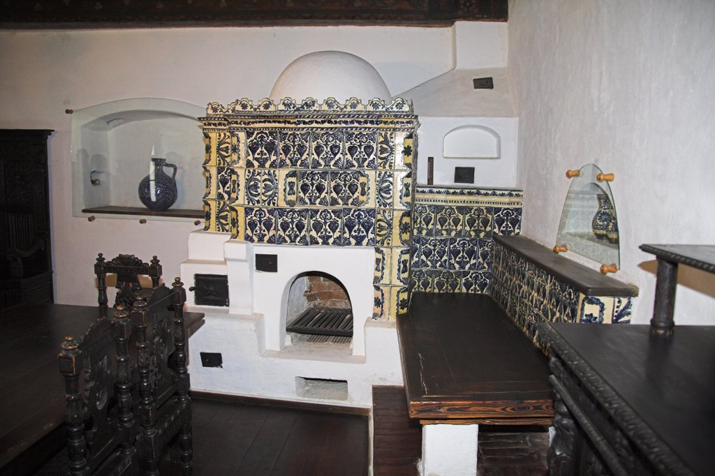 Stock Photo: 4290-3536 Fireplace in a room in Bran Castle, Bran, near Brasov, Transylvania, Romania