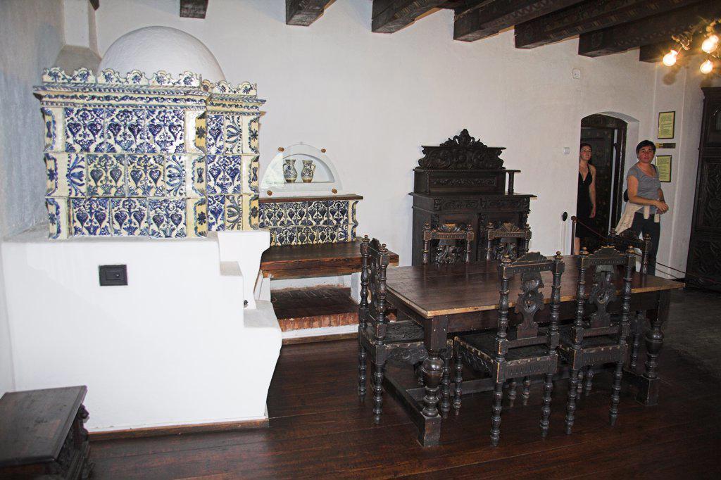 Antique furniture in a room in Bran Castle, Bran, near Brasov, Transylvania, Romania : Stock Photo