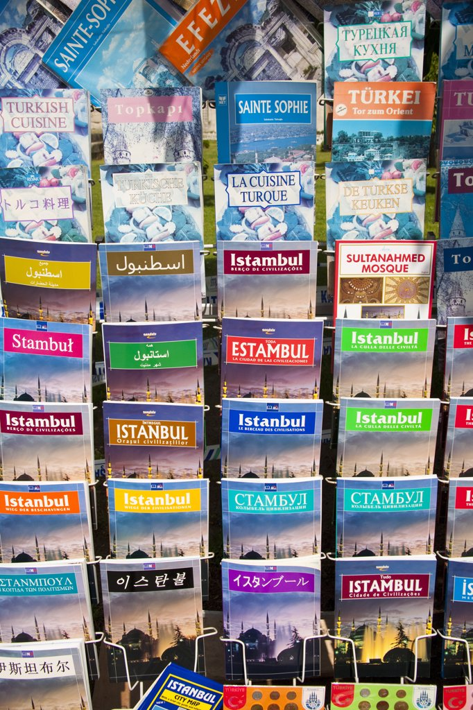 Stock Photo: 4290-3547 Istanbul travel guide books for sale outside a shop, Istanbul, Turkey