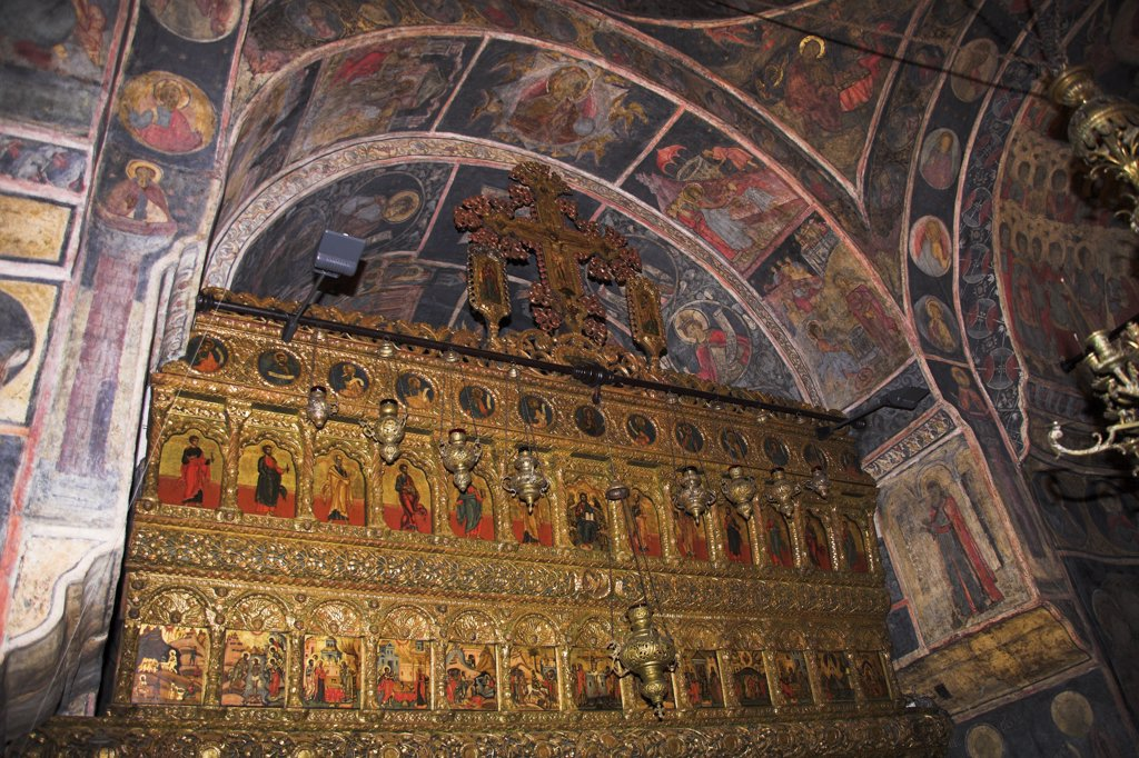 Paintings on wall and ceiling, Stavropoleos Orthodox Church, Str Stavropoleos, Bucharest, Romania : Stock Photo