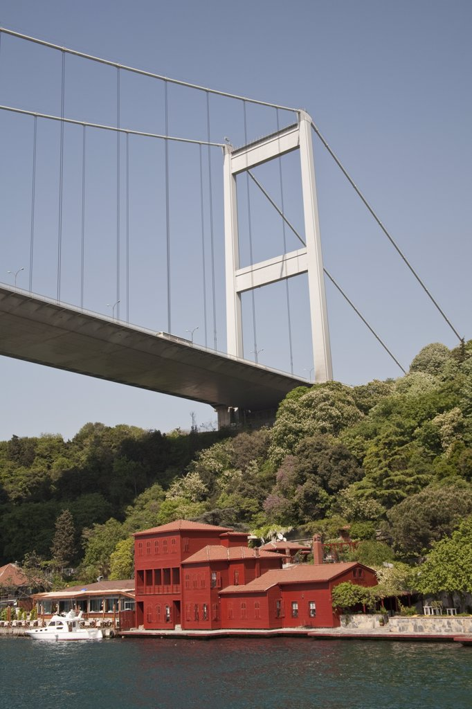 Stock Photo: 4290-3641 Fatih Sultan Mehmet Bridge, and Hekimbasi Salih Efendi Yali, beside the Bosphorus, Istanbul, Turkey