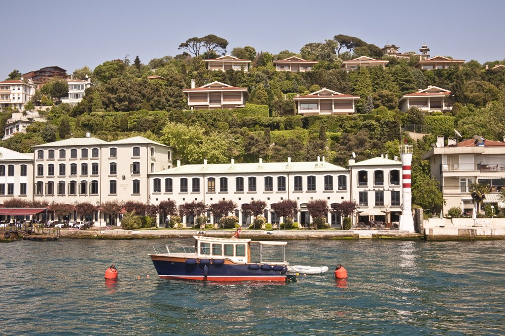 Waterside Sumahan Hotel, beside the Bosphorus Sea, Cengelkoy, Istanbul, Turkey : Stock Photo