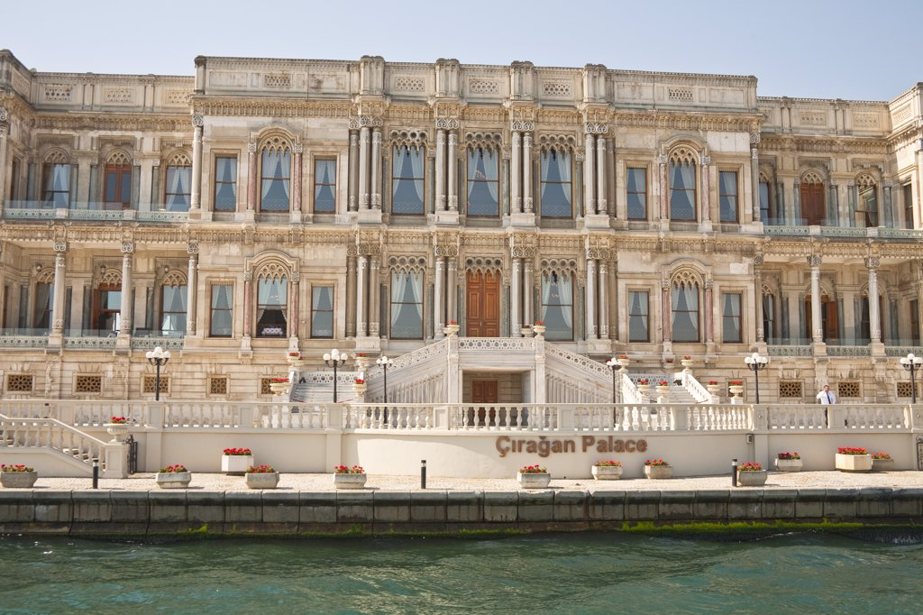 Ciragan Palace, now a Kempinski Hotel, beside the Bosphorus, Istanbul, Turkey : Stock Photo