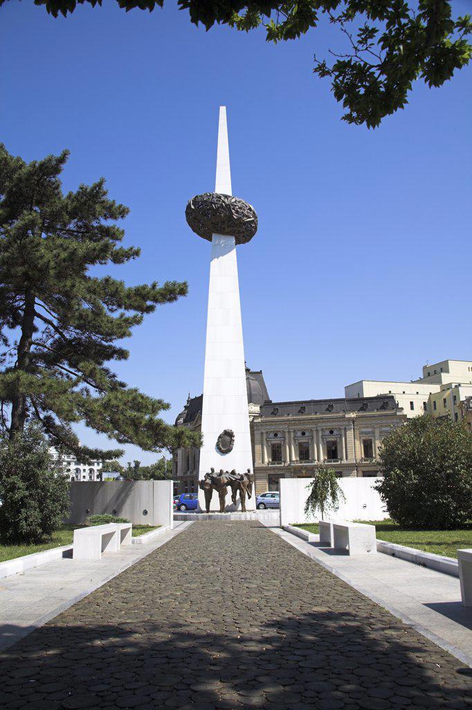 Stock Photo: 4290-3678 Monument to 1989 Revolution, Rebirth Memorial, Piata Revolutiei, Revolution Square, Bucharest, Romania