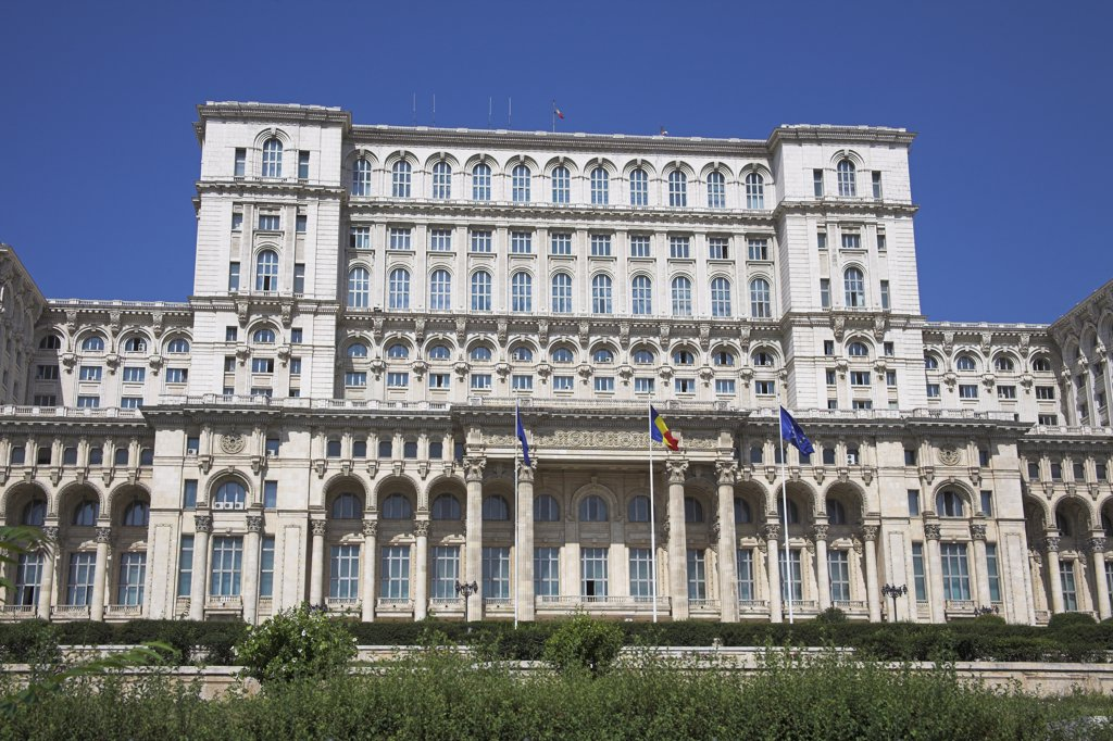Stock Photo: 4290-3765 Palace of Parliament, also known as Peoples Palace, Casa Poporului, Bucharest, Romania