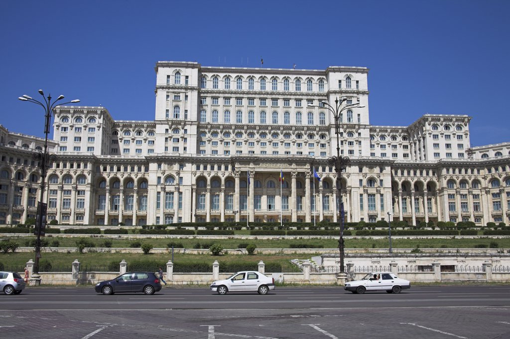 Stock Photo: 4290-3768 Palace of Parliament, also known as Peoples Palace, Casa Poporului, Bucharest, Romania