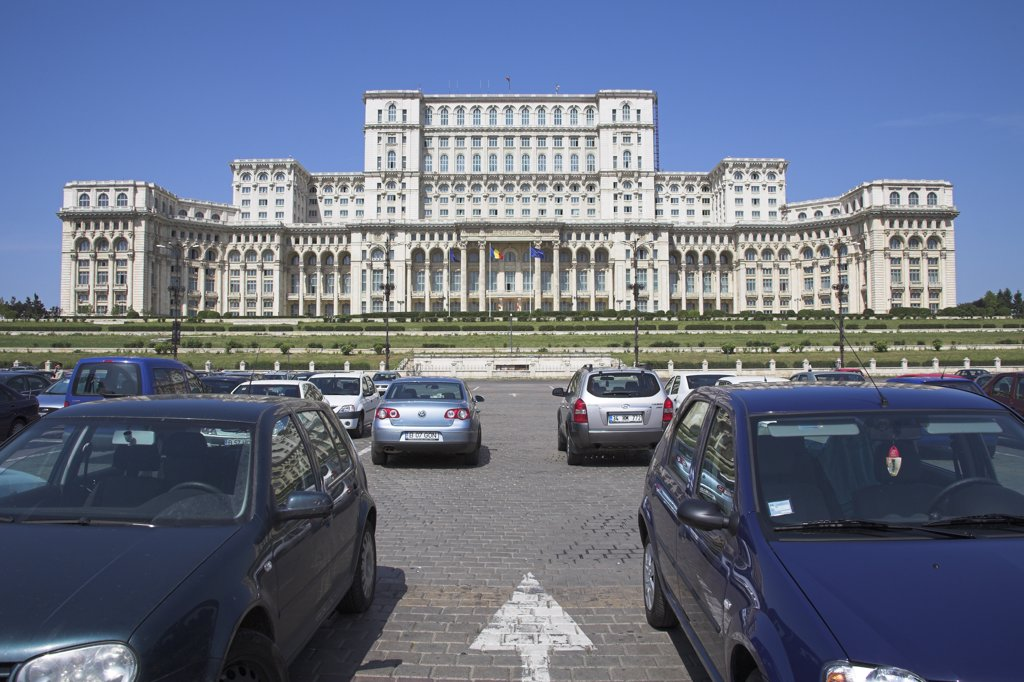 Palace of Parliament, also known as Peoples Palace, Casa Poporului, Bucharest, Romania : Stock Photo