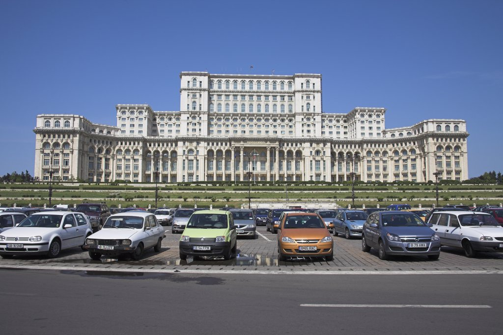 Stock Photo: 4290-3774 Palace of Parliament, also known as Peoples Palace, Casa Poporului, Bucharest, Romania