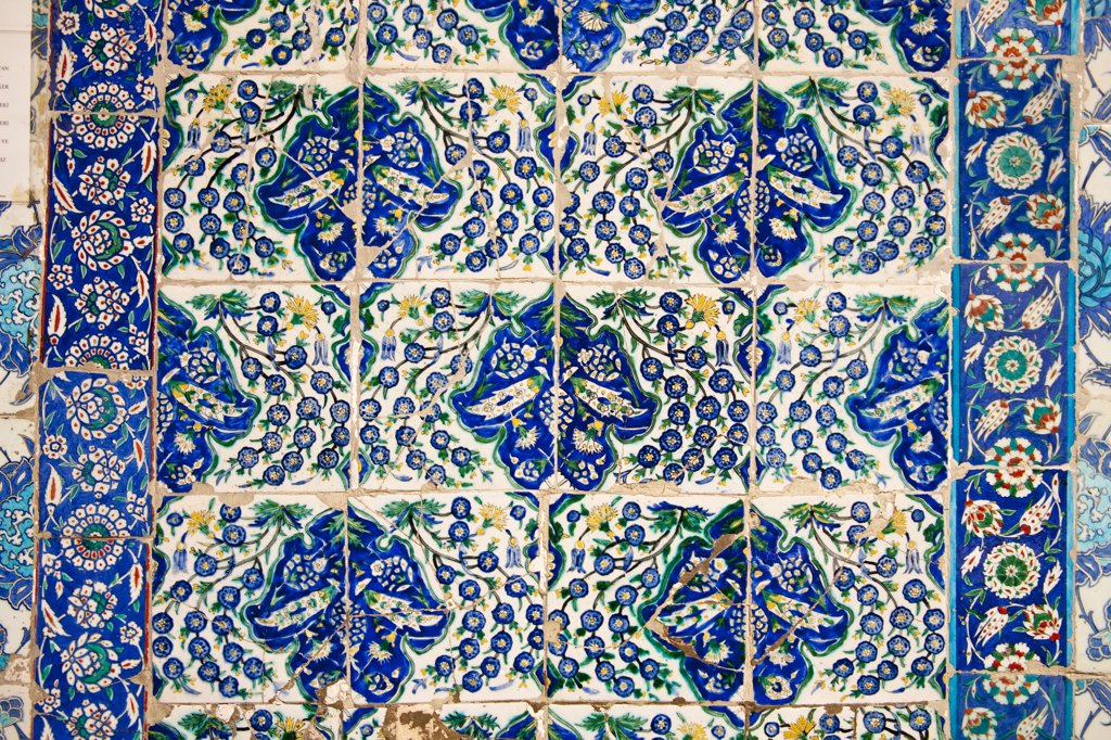 Stock Photo: 4290-3777 Ceramic wall tiles outside the Tomb of Abu Ayyub Al-Ansari at the Eyup Sultan Mosque, Eyup, Istanbul, Turkey