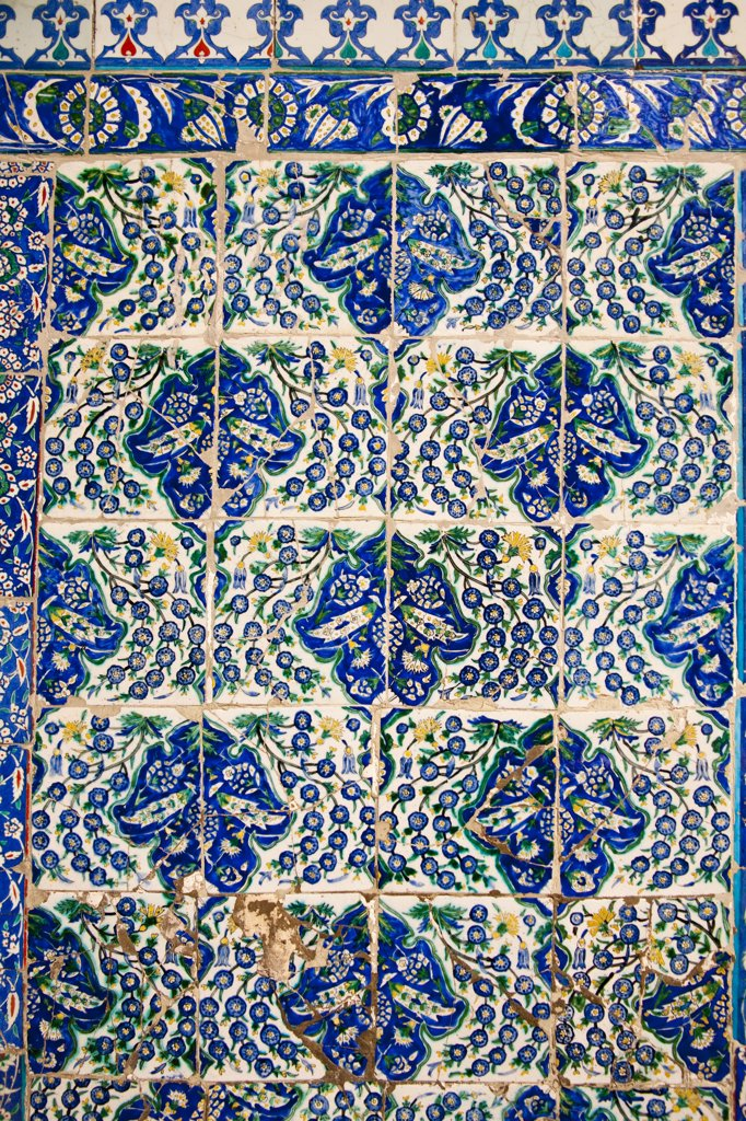Stock Photo: 4290-3778 Ceramic wall tiles outside the Tomb of Abu Ayyub Al-Ansari at the Eyup Sultan Mosque, Eyup, Istanbul, Turkey