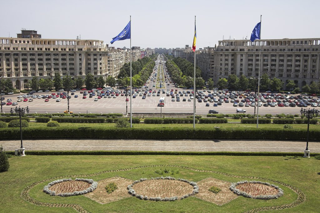 View of Unirii Boulevard, from Palace of Parliament, Peoples Palace, Casa Poporului, Bucharest, Romania : Stock Photo