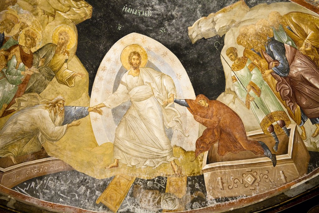 Fresco of Anastasias, Parecclesion, inside Chora Museum, also known as Kariye Muzesi, Edirnekapi, Istanbul, Turkey : Stock Photo