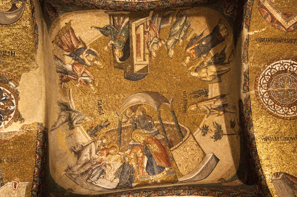 Presentation of Mary to the Temple mosaic inside Chora Museum, also known as Kariye Muzesi, Edirnekapi, Istanbul, Turkey : Stock Photo
